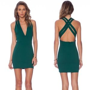 NBD Late Night Mini Dress in Emerald Green NWT